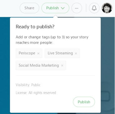 Add tags, change the visibility and select the license of your content on Medium