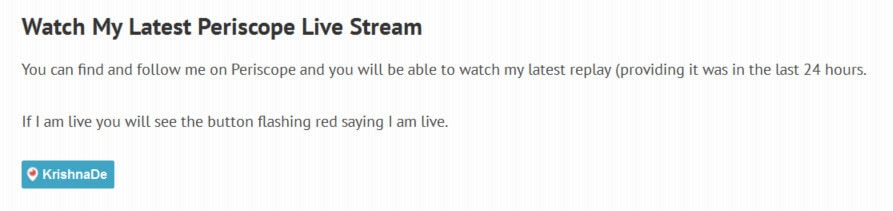 Embed the Periscope On Air Live Button on your website