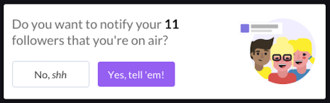 Live stream tips for Blab - determine if you want to notify your followers when you join a Blab as a guest
