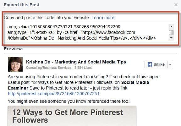 How to embed a Facebook post into your website or blog from your own post - step 2