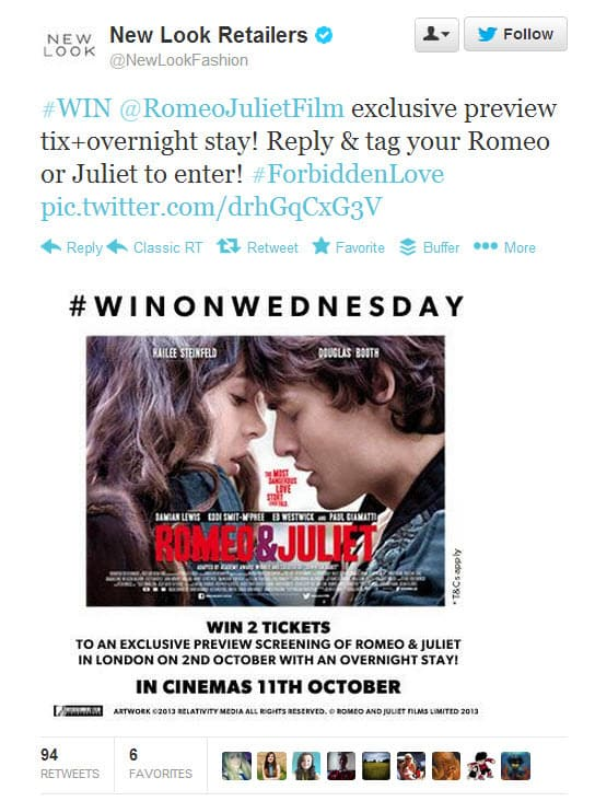 An example of a Twitter competition from New Look Fashion