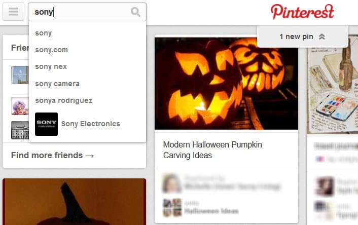 Pinterest promoted pins - search for Sony