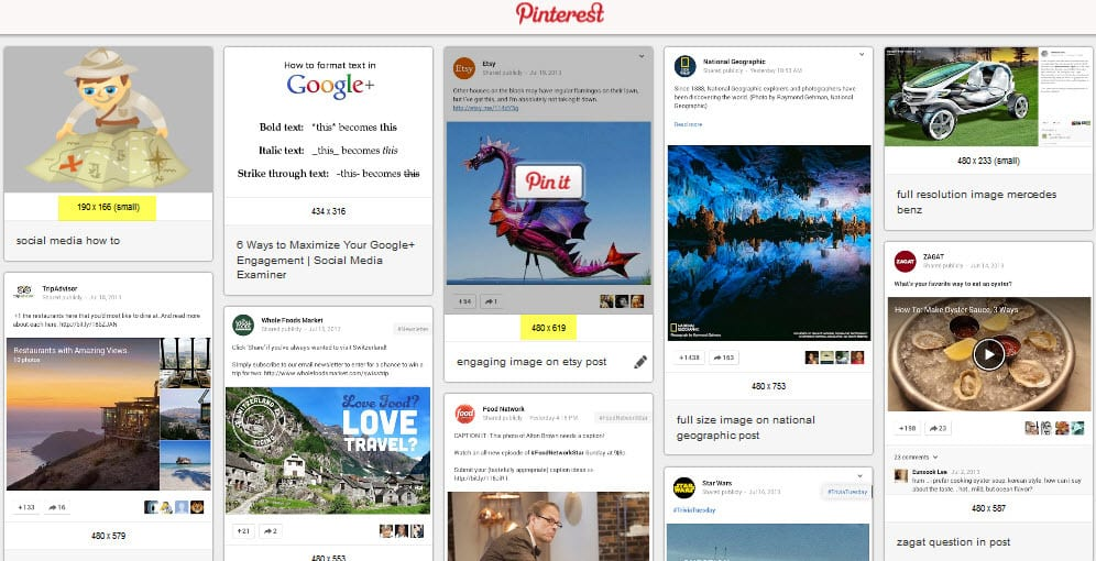 Pinterest updates it's bookmarklet to show sizes of images and descriptions