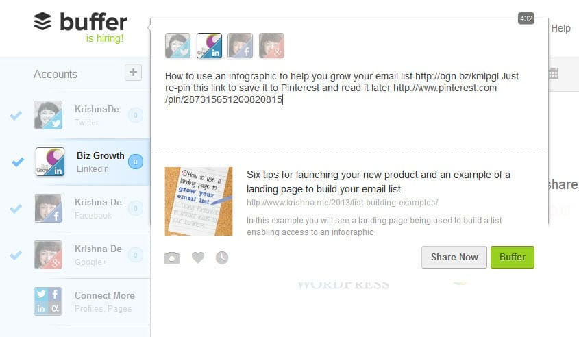 Using Buffer app to customise your call to action for your LinkedIn Company Page posts