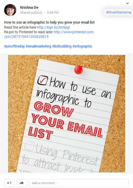 Using Buffer app to post visual content to your Google Plus business page and including formating and hashtags