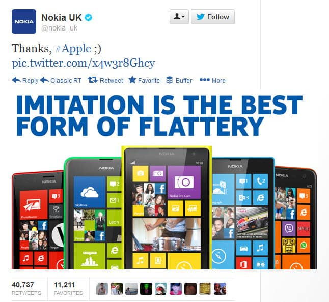 Nokia UK becomes the most retweeted brand