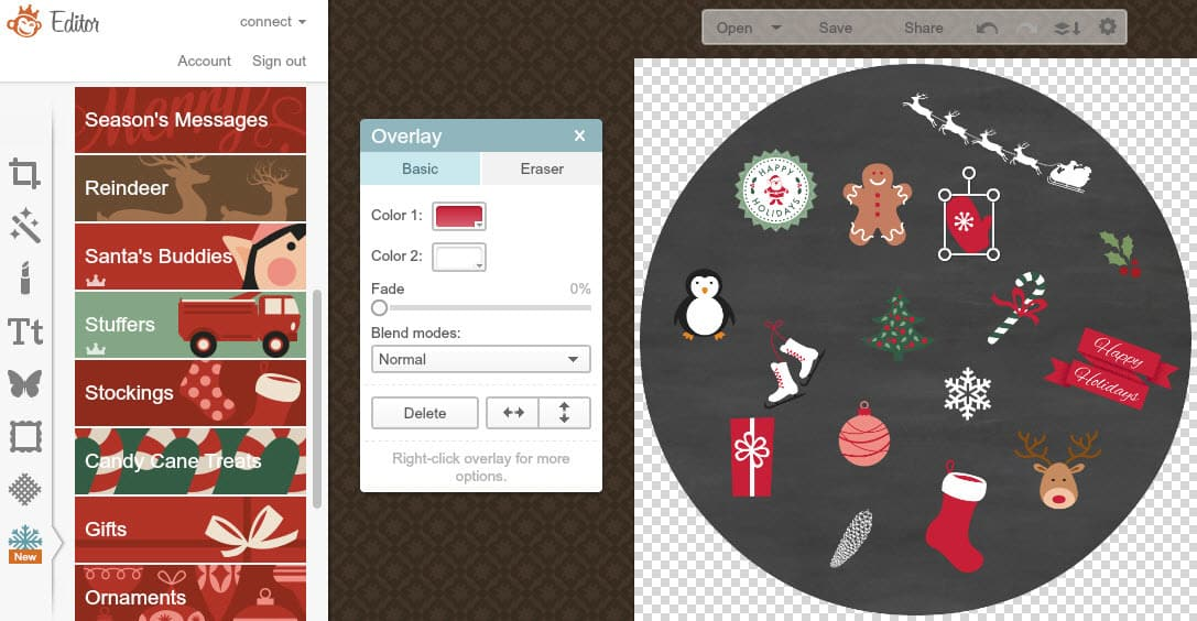 PicMonkey tutorial to create a personalised chalkboard Holiday gift tag - Christmas and Holiday overlays