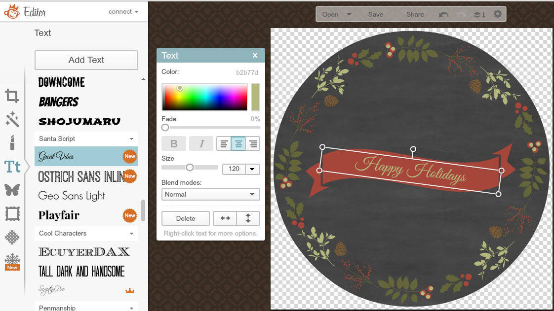 PicMonkey tutorial to create a personalised chalkboard Holiday gift tag - add text to your banner