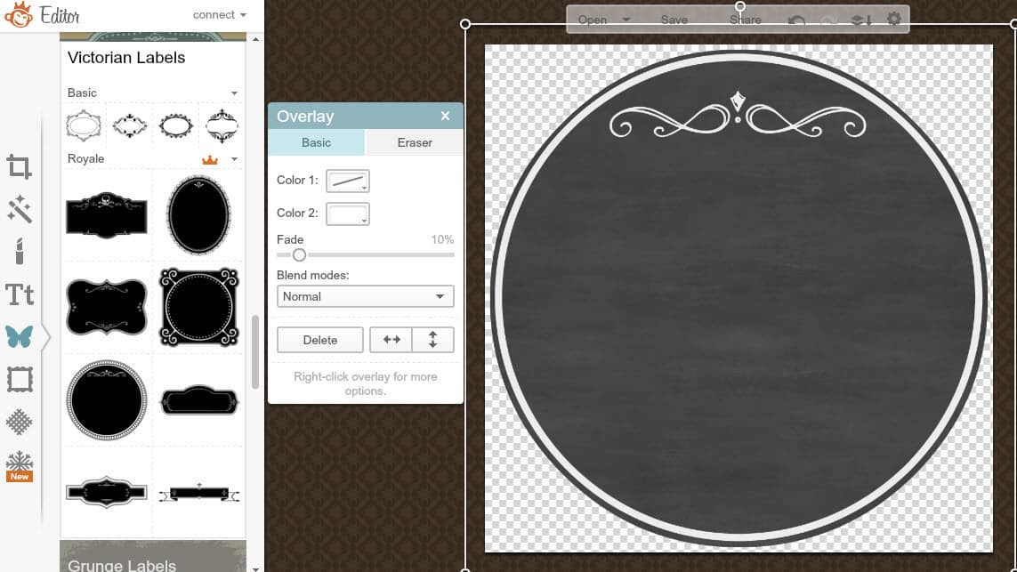 PicMonkey tutorial to create a personalised chalkboard Holiday gift tag - adding labels