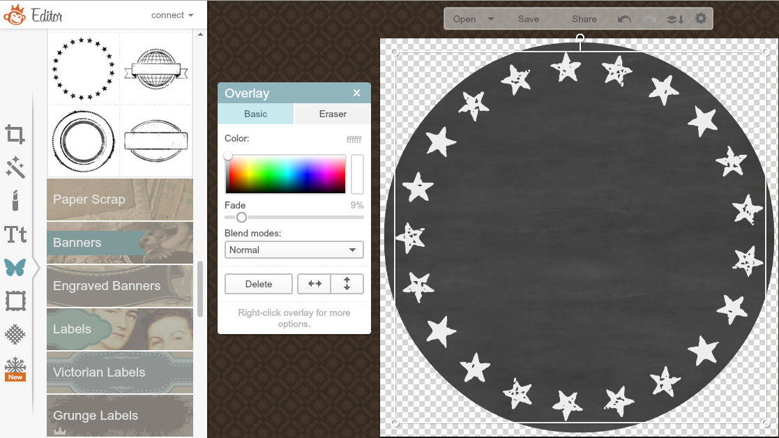 PicMonkey tutorial to create a personalised chalkboard Holiday gift tag - adding star overlays from the postal series