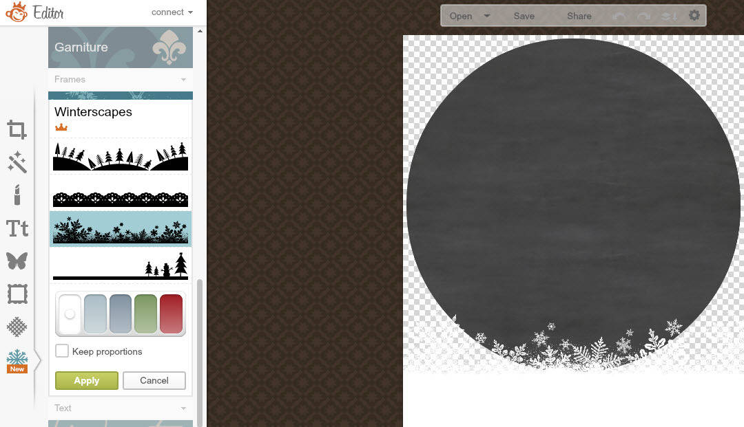PicMonkey tutorial to create a personalised chalkboard Holiday gift tag - adding winter scapes