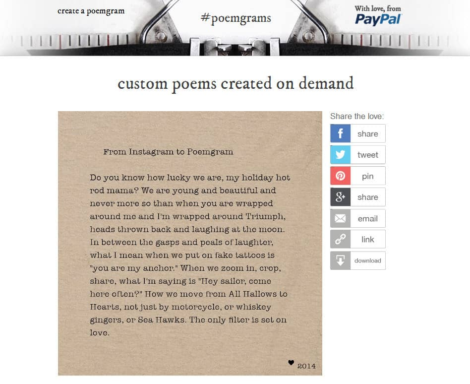 PayPal Poemgram Valentines Day Campaign