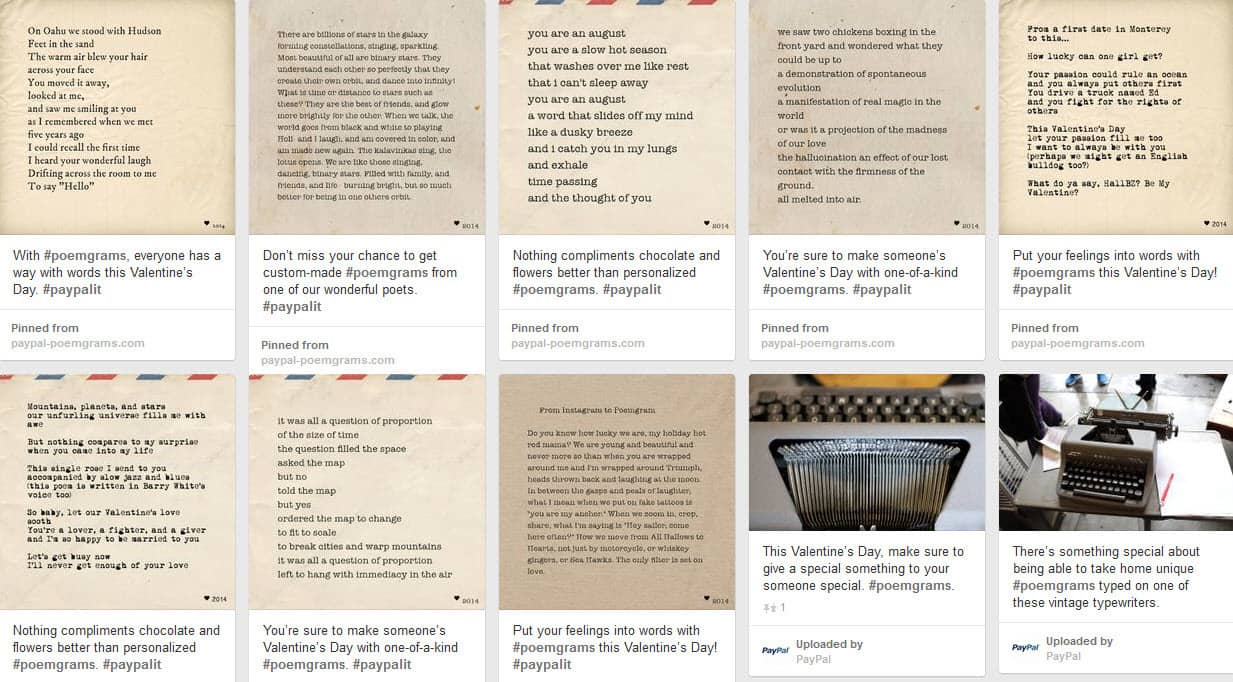 PayPal Poemgram Valentines Day Campaign curated on Pinterest