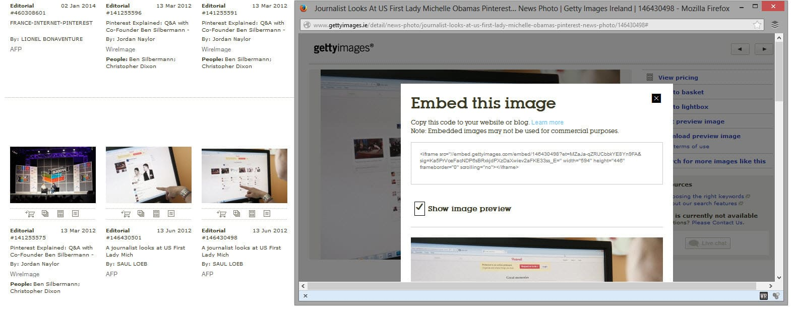 Getty Images makes embed options available for personal blogs and non commercial articles on websites