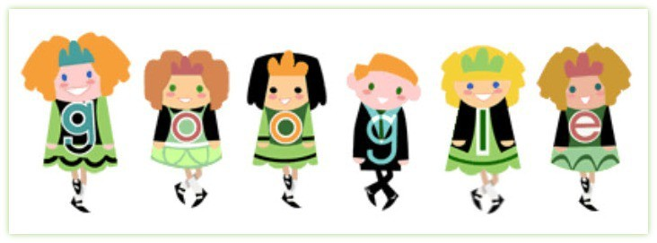 St Patricks Day 2013 Google Doodle is celebrated with an animated group of Irish dancers