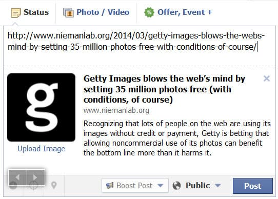Using the embed feature for images from Getty will limit visual content when you share articles on social networks
