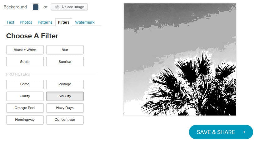 Add filters to to the images you use for your visual content
