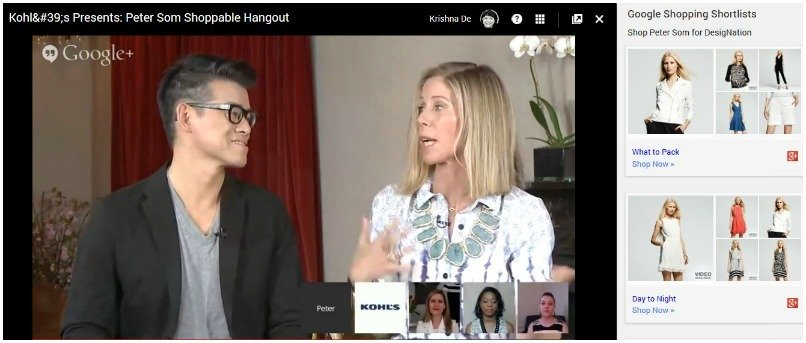 Kohl shoppable hangout showing the Google Shopping Shortlists with designer Peter Som