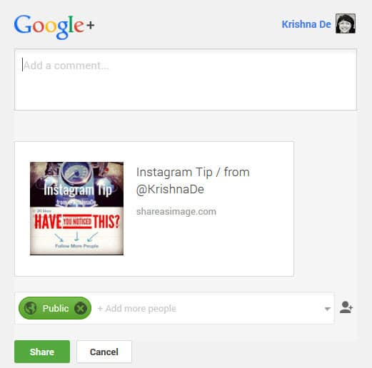 Sharing an image with a text overlay to your Google Plus profile