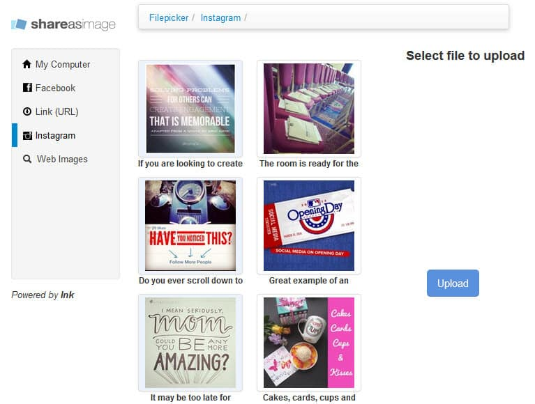 Upload your own image to add a text overlay for your social media posts