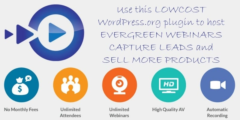 Use this lowcost WordPress.org plugin to host evergreen webinars capture leads and sell more products