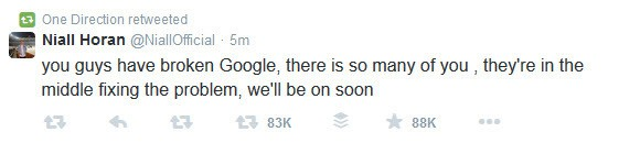 Niall Horan of One direction Tweets that the Hangout On Air is running late