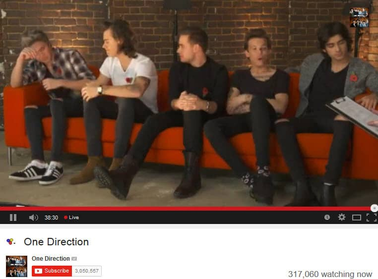 One Direction Google Hangout On air has over 317000 people watch the live stream