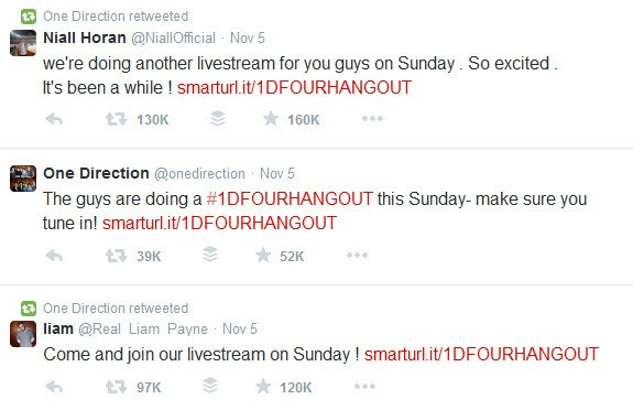 One Direction announce their forthcoming Hangout On Air On Twitter