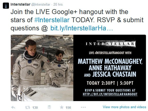 The live Google Hangout On Air for Intersellar was promoted through Twitter