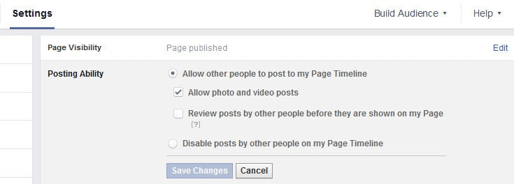 Changing the permission for others posting your your Facebook Page