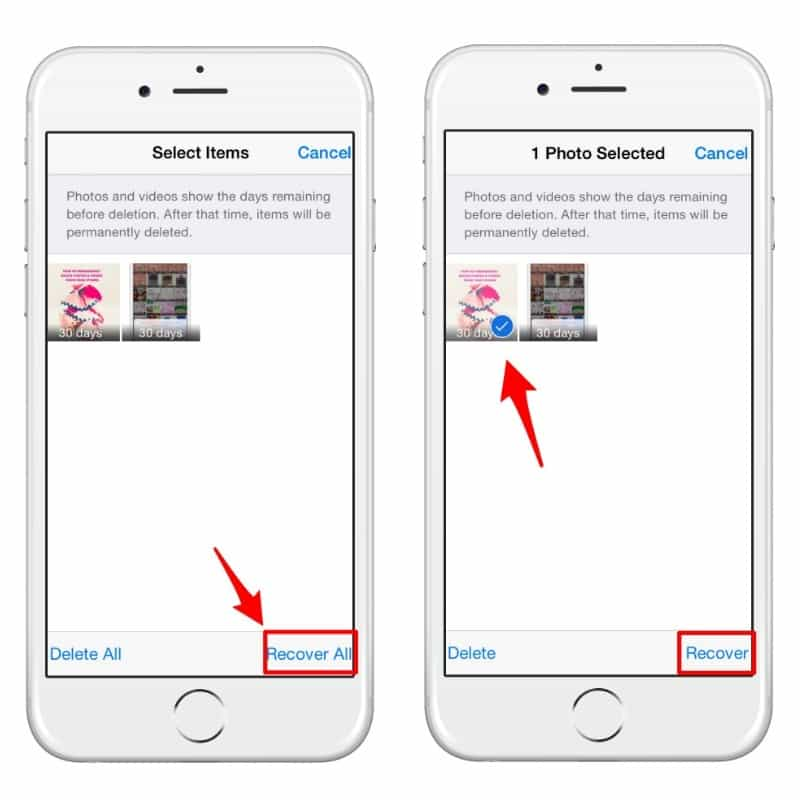 If you delete content by mistake you can recover your photos and videos from your Recently Deleted folder