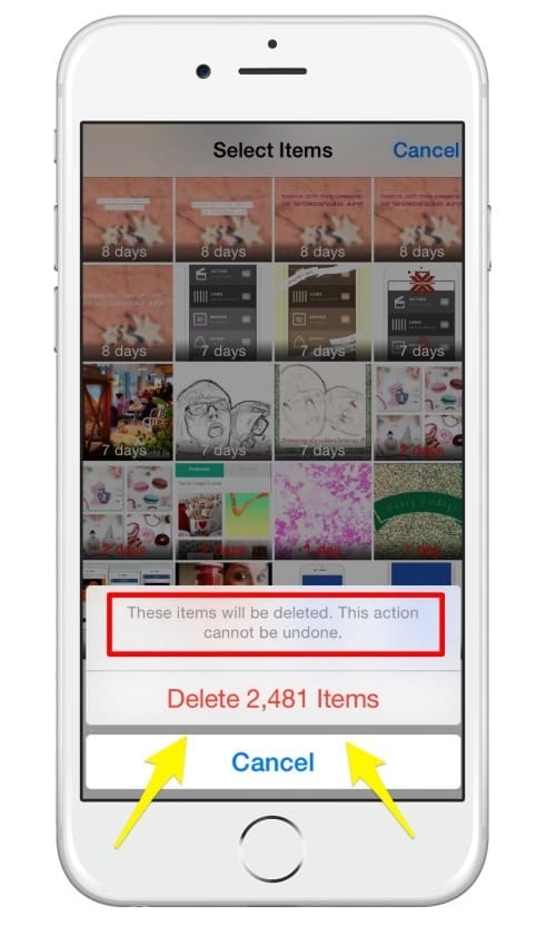 Once selected for deletion the photographs and video content will not be able to be restored