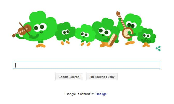 Google Doodle for St Patrick's Day 2015