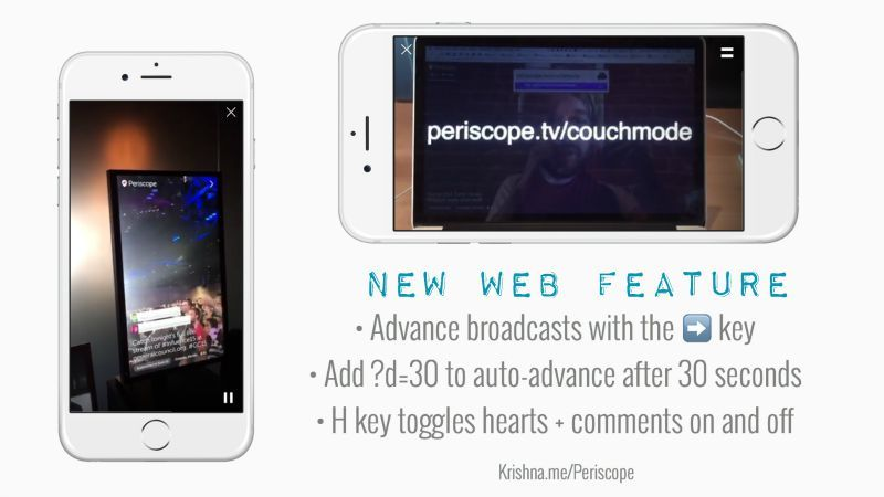 Periscope launches couch mode for continuous viewing of live streams by non mobile users