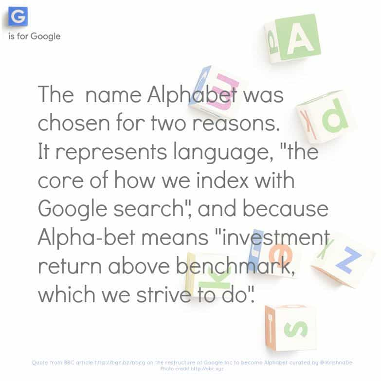 What is in a name - the rebranding of Google Inc to Alphabet Inc by Krishna De
