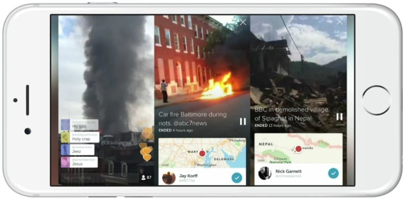 Examples of Periscope live streamers sharing breaking news