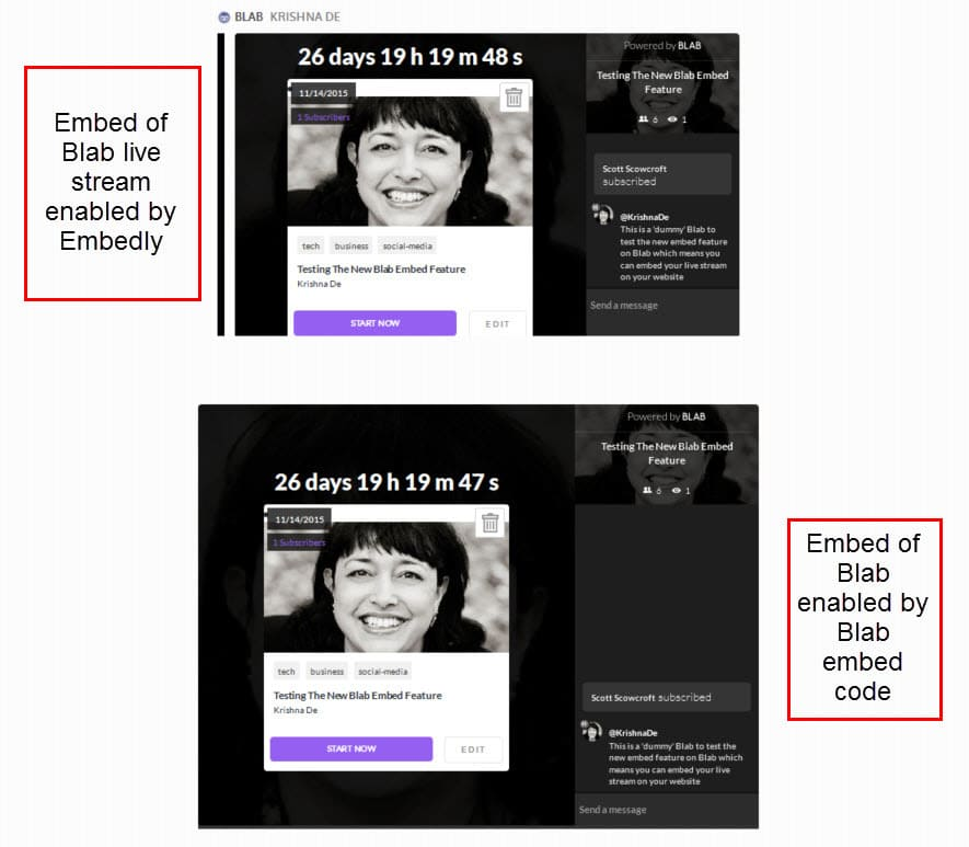 Live stream tip when using Blab - embed the live stream on your site
