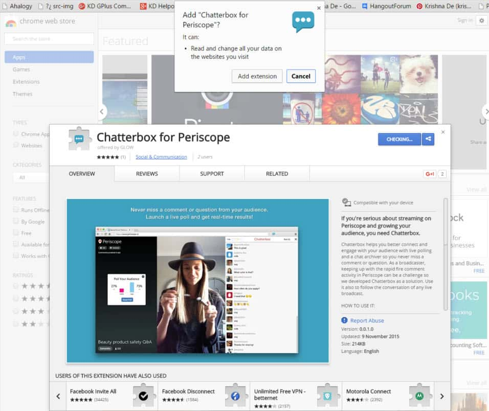 Live stream polls on Periscope using Chatterbox Chrome extension