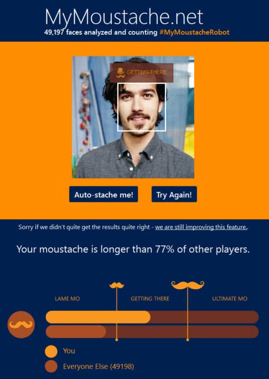 MyMoustache uses Microsoft Project Oxford facial recognition software as part of their Movember fundraising campaign