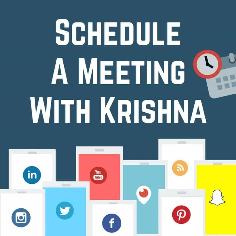 Schedule a meeting with digital marketing, social media and live video expert Krishna De