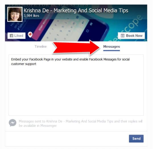 Allow customers and prospects to ask questions using the Facebook message feature