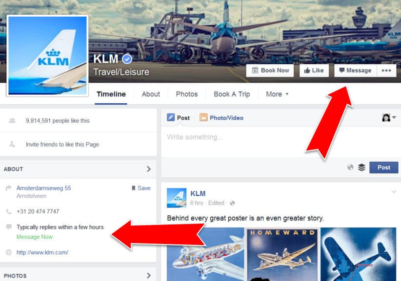 Facebook messages for customer support on the KLM Facebook Page