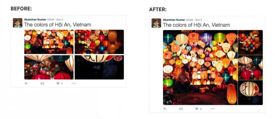 Twitter changes the photo display feature for multiple images