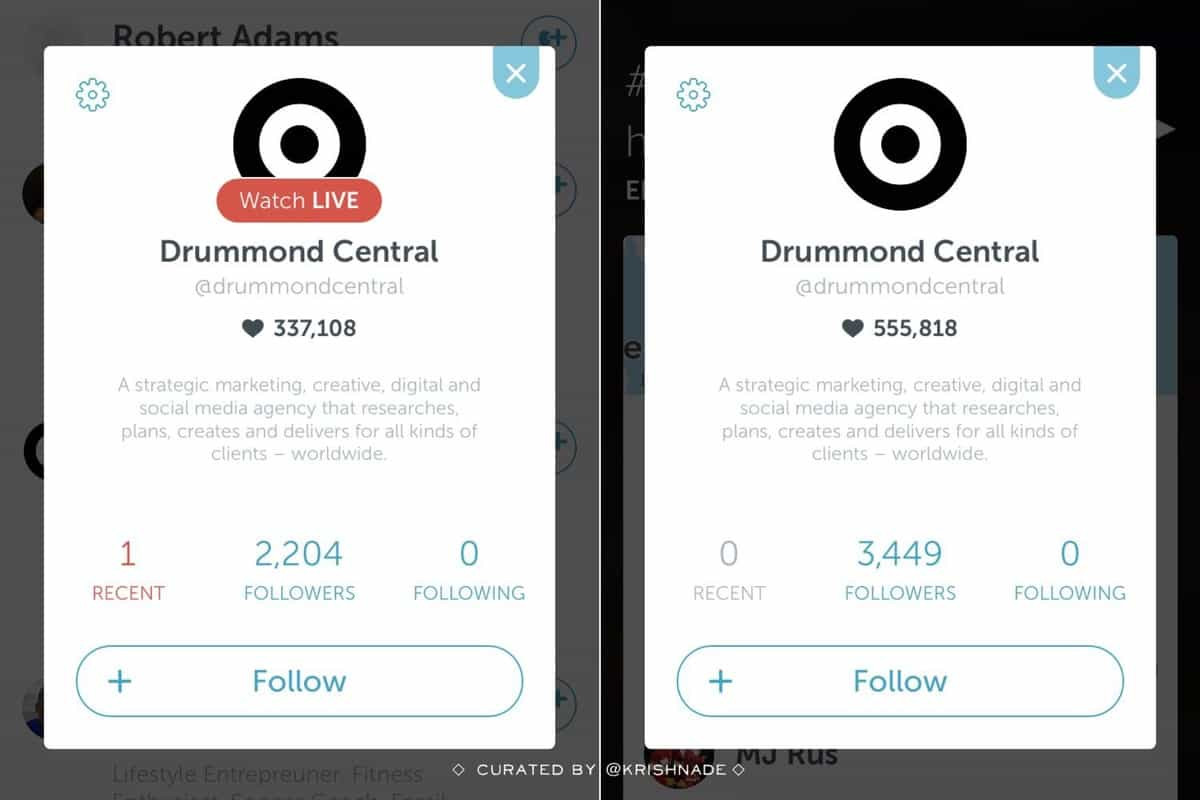 Growth in Periscope followers for the Drummond Puddle Watch