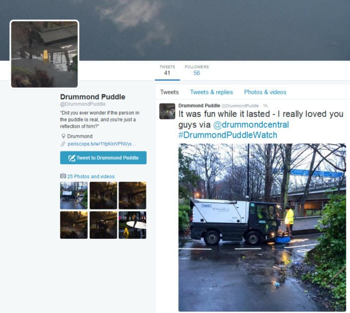 The Twitter account for the #DrummondPuddleWatch