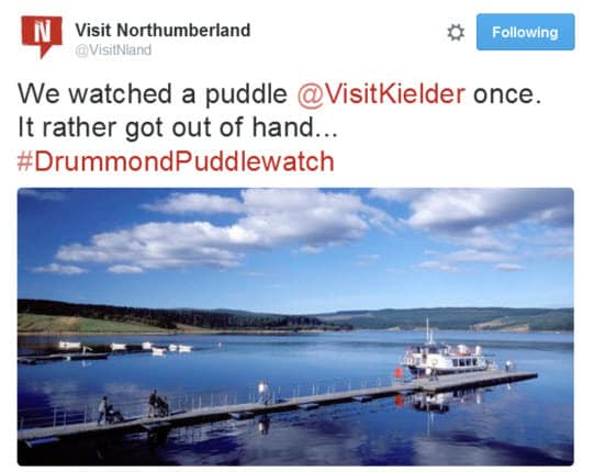 Visit Northumberland look to newsjack the Drummond Puddle Watch