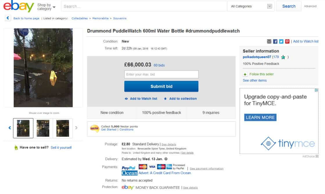 Water from the Jesmond puddle is being auctioned on eBay