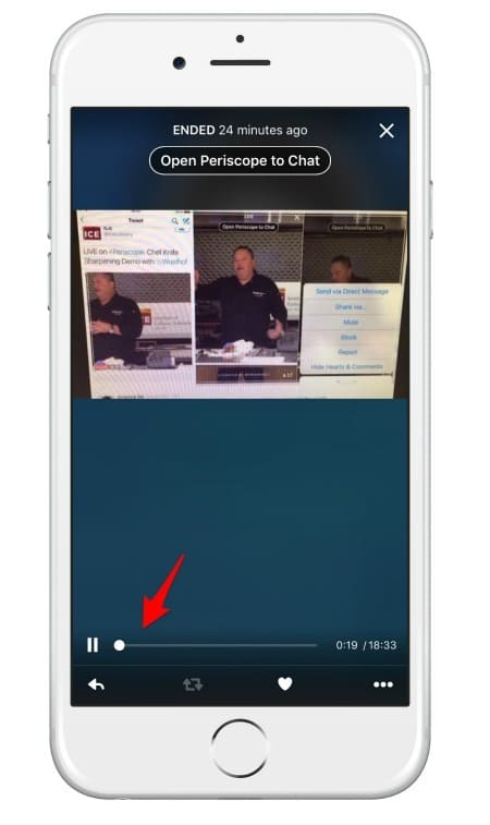 You can fast forward and rewind through replays of the Periscope live stream