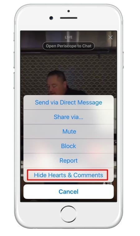 You can hide hearts and comments when viewing the Periscope live stream