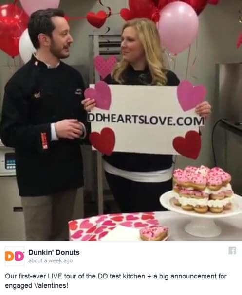 Dunkin Donuts Facebook Live for Valentines Day